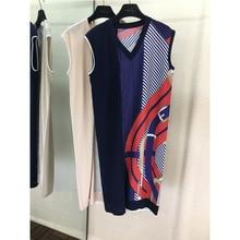 2019 autumn new wool + silk fashion temperament V-neck dress geometric element pattern female
