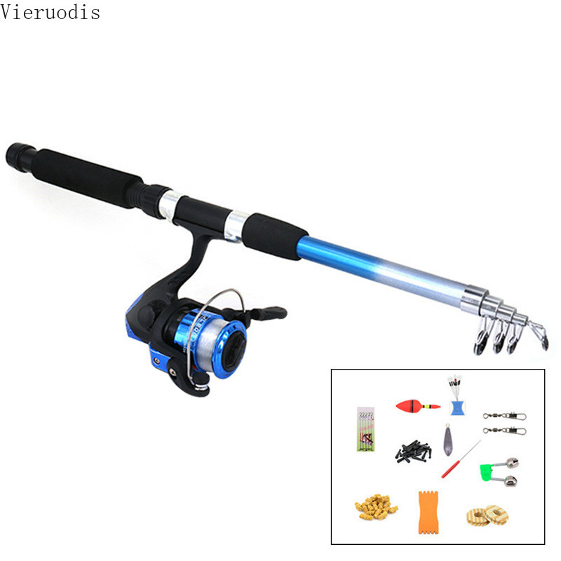 Fishing Rod Reel Combo Full Kit 1.8m Telescopic Fishing Float Spinning Reel Set with Hooks Lures Barrel Swivels Storage Bag Suit