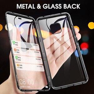 Магнитный металлический чехол для Huawei P30 Pro, чехол P20 Lite с откидной крышкой, стеклянный чехол для Huawei Mate 30 20 Pro Lite X 5G P Smart Z, чехол