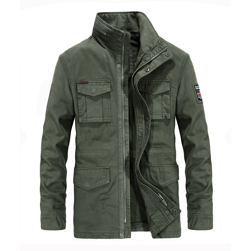 Safari Style Stand Collar Military Jackets For Men High Quality Cotton Pockets Zipper Epaulet Embroidery Men's Jackets Coat 4XL