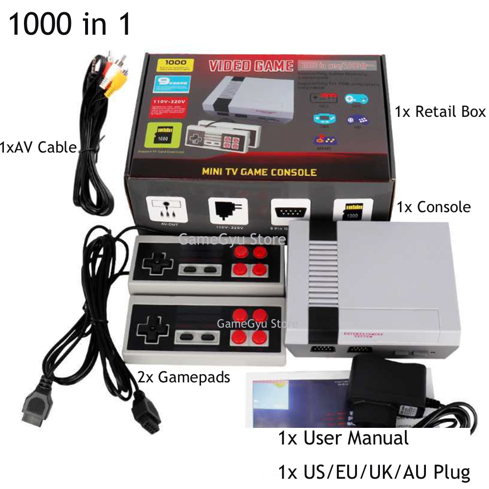 2020 New Built-In 1000 Games Mini TV Game Console 8 Bit Retro Classic Handheld Gaming Player AV/HD Output Video Game Console Toy