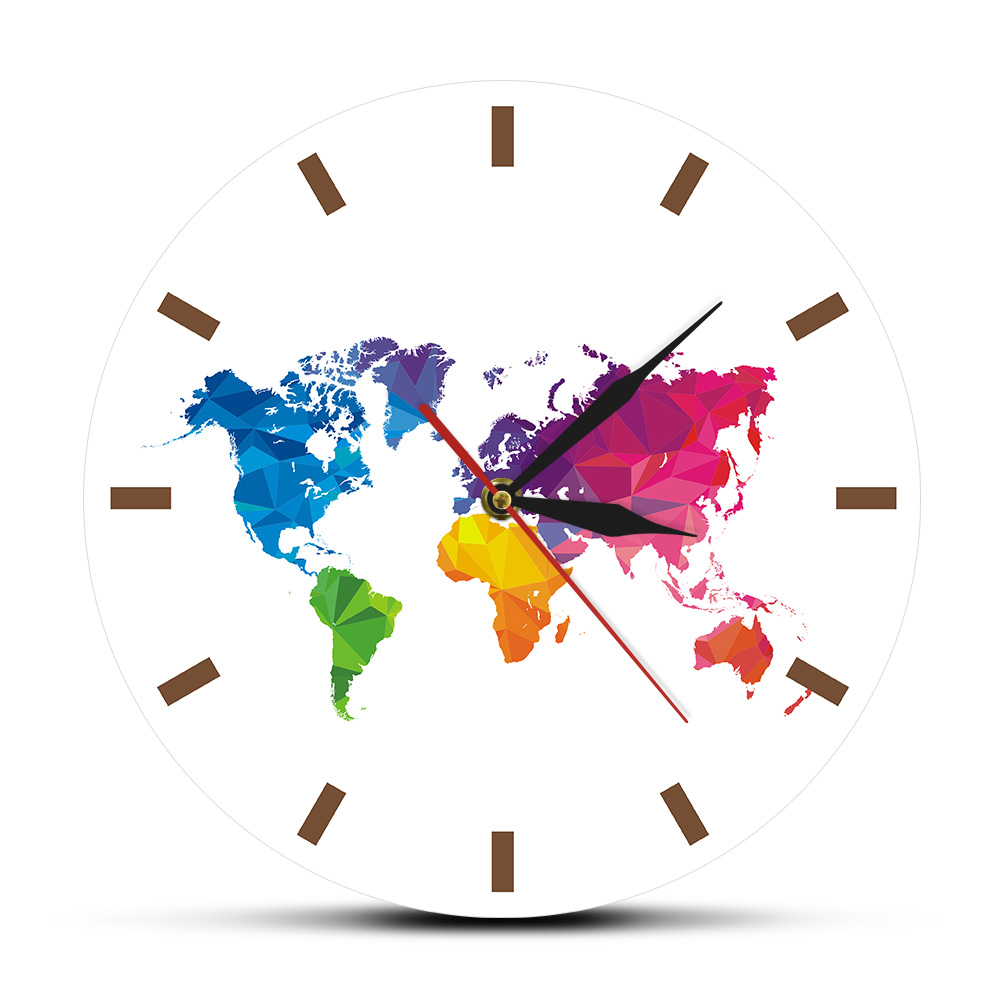 Large Acrylic Colorful World Map Wall Clock Silent Sweep Print Wall Watch Pointer MDF Reloj Pared Traveler Living Room Decor