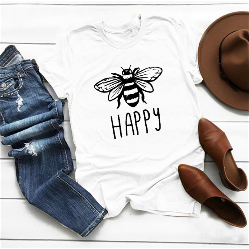 Happy Letter Print T shirt Women Cute Bee Graphic Tshirts Casual Harajuku Summer Vintage T-shirt Ladies Korean Style Vogue Tops image