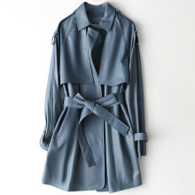 Autumn Mid Long Blue Leather Coat Spring Sheepskin Slim High Quality Fashion Jackets with Sashes Pockets Genuine Leather Outwear