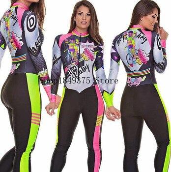 2020 pro equipe triathlon terno macacão das mulheres ciclismo manga longa jérsei skinsuit macacão maillot ciclismo ropa ciclismo conjunto 1