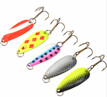 5PCS/Lot Mix Colors 3.5g Colorful Trout Lure Fishing Spoon Bait Single Hook Metal Fishing Lure Fishing Tackle(China)