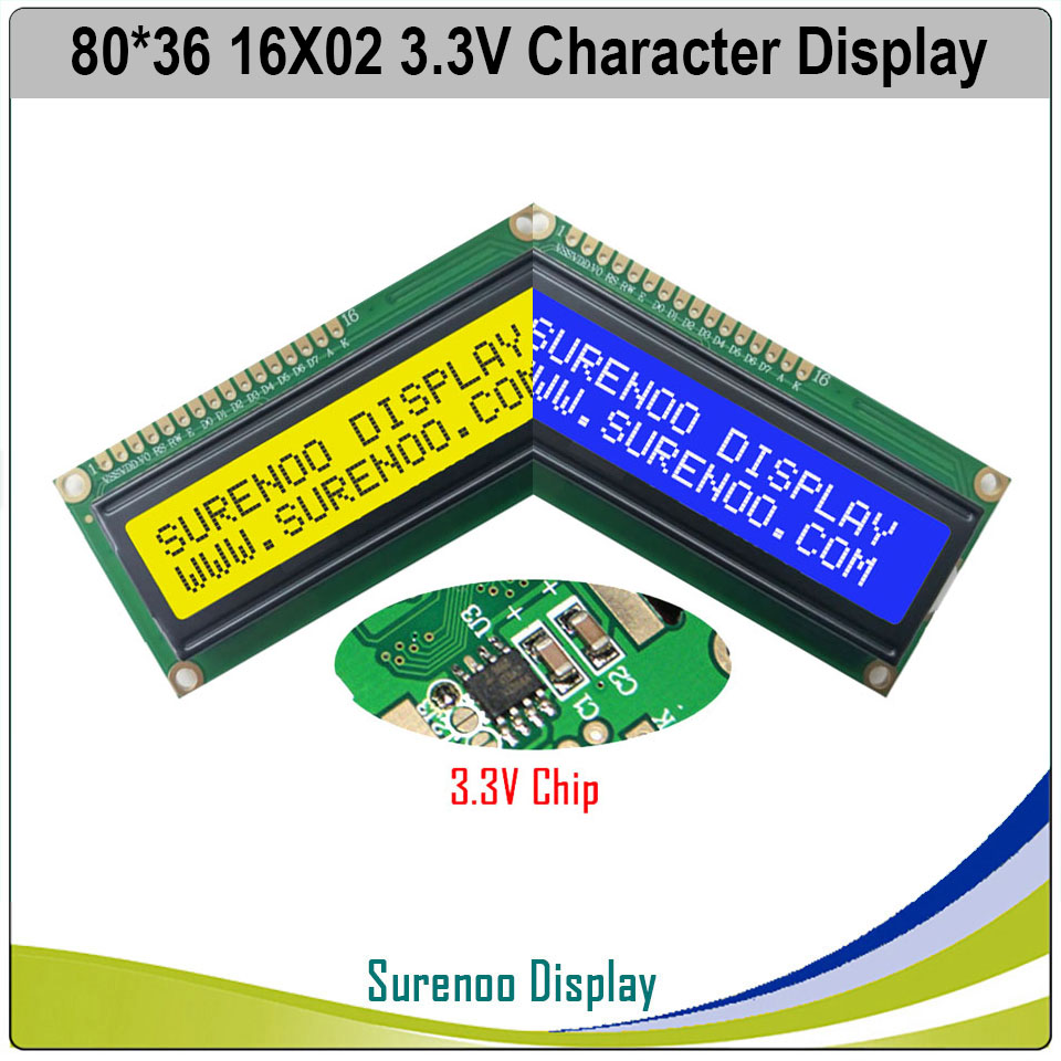 3.3V 162 16X2 1602 Character LCD Module Display Screen LCM Blue Negative LCD With White LED Backlight