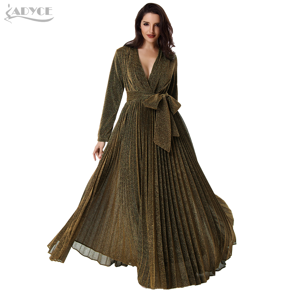 ADYCE 2019 Long Pleated Maxi Women Runway Party Dress Gold Long Sleeve Deep V Neck Sashes