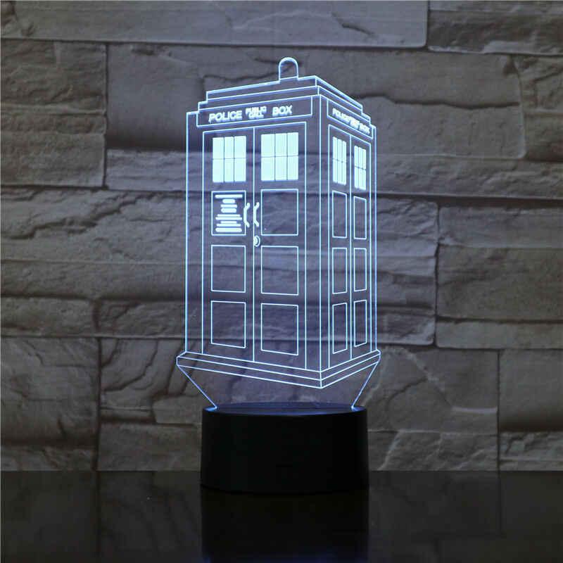 ثلاثية الأبعاد Led ليلة ضوء مصباح صناديق الشرطة البريطانية TARDIS ضوء الليل للأطفال ديكور غرفة نوم الهاتف كشك كالوب ثلاثية الأبعاد مصباح الطبيب الذي