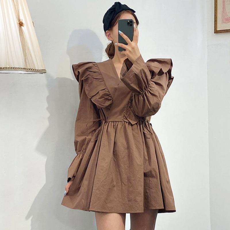 [EWQ] 2020 Spring New Sweet Long Sleeve V Neck Flare Sleeve Women Dresses Korea Style Ruffles Shangp Ladies Shirt Dress QZ44100|Dresses| - AliExpress