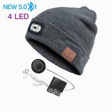 Bluetooth зимняя вязаная шапка Музыка Светодиодный светильник