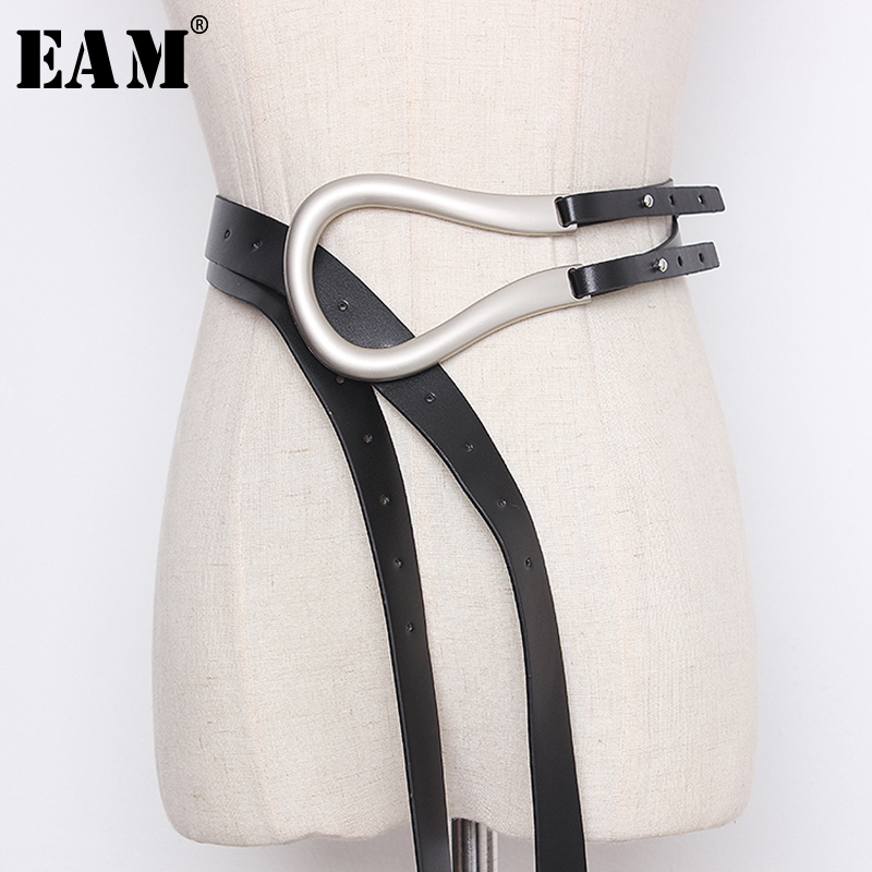 [EAM]  Pu Leather Multicolor Buckle Split Long Wide Belt Personality Women New Fashion Tide All-match Spring 2020 1N946