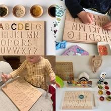Montessori idioma brinquedo alfabeto inglês de madeira e 0-9 números cognitivo placa de escrita cedo brinquedo educacional para pré-escolar