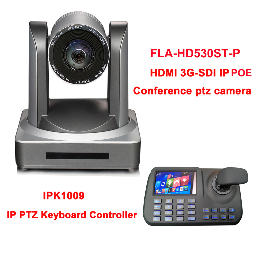 2MP HDMI 3GSDI IP POE CÂMERA de REDE PTZ ZOOM 30X streaming Ao Vivo + 5 Polegada Display LCD Teclado Joystick controlador