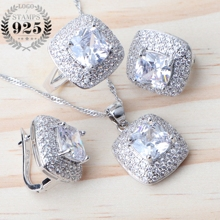 Witte Zirconia Bridal Zilver 925 Sieraden Sets Voor Vrouwen Bruiloft Sieraden Oorbellen Met Stenen Hanger Ring Ketting Set Gift Box