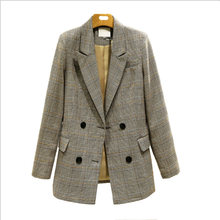 Женская винтажная клетчатая куртка двубортная с карманами 2020