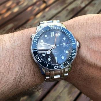 цена BLIGER 41mm Blue Dial Ceramic Rotating bezel Sapphire Crystal Auto Date Luminous Men's Watch Automatic Movement онлайн в 2017 году