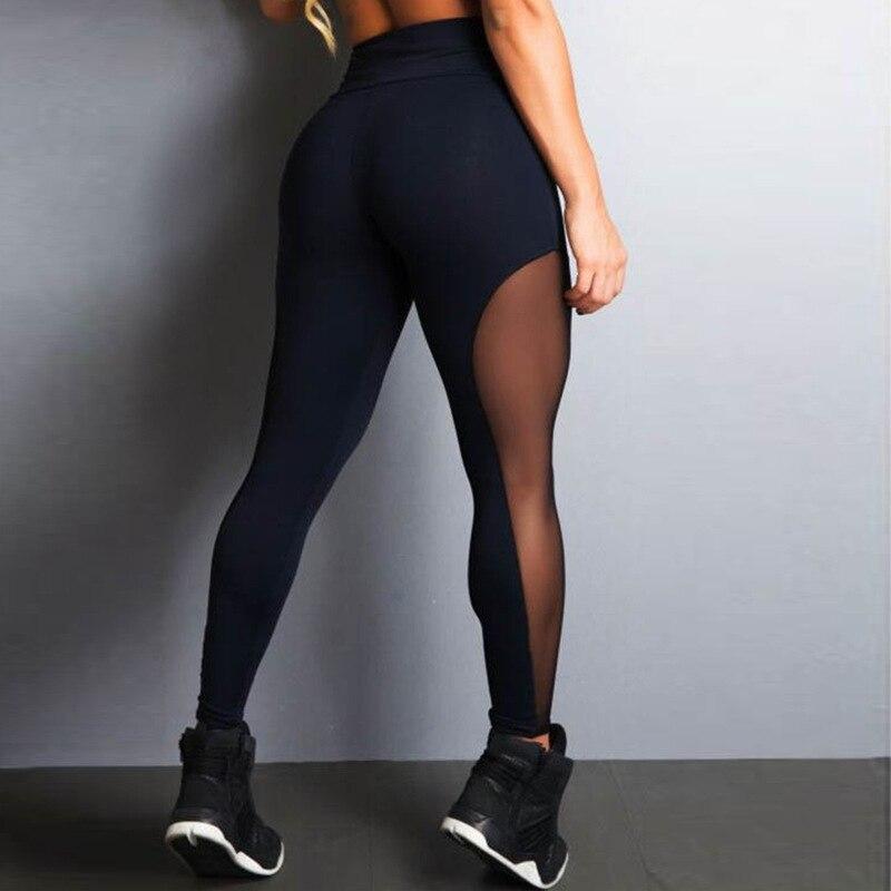 HOT Yoga Pants Women Mesh Yoke Black Sport Leggings Fitness Running Sportswear Fitness Sports Pants Female Leggins Gym Wear New