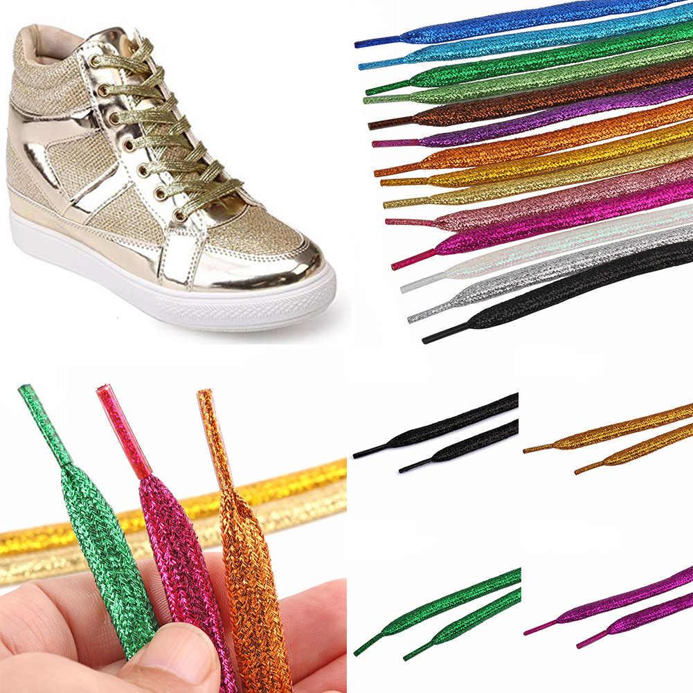 1 คู่สีสันShoelacesรองเท้าผ้าใบMETALLIC Glitter SHINYผู้หญิงGOLDเชือกผูกรองเท้าแบนวิ่งรองเท้าLacing