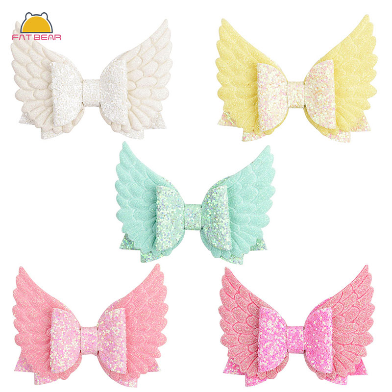 Angle Wing Baby Hair Clips Glitter Sequin Bow Princess Hairpins For Girls Handmade Barrette Childern Kids Girls Hair Accessories