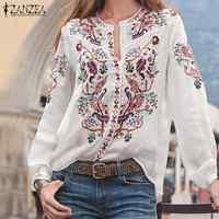 Bohème imprimé hauts femmes automne Blouse ZANZEA 2019 tunique de grande taille mode col en V à manches longues chemises femme décontracté Blusas