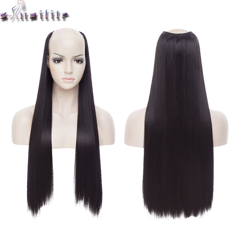 S-noilite 24inch Long Straight Clips In One Piece Hair Extension Synthetic Clip In Hair Black Brown Fake Hairpiece For Women