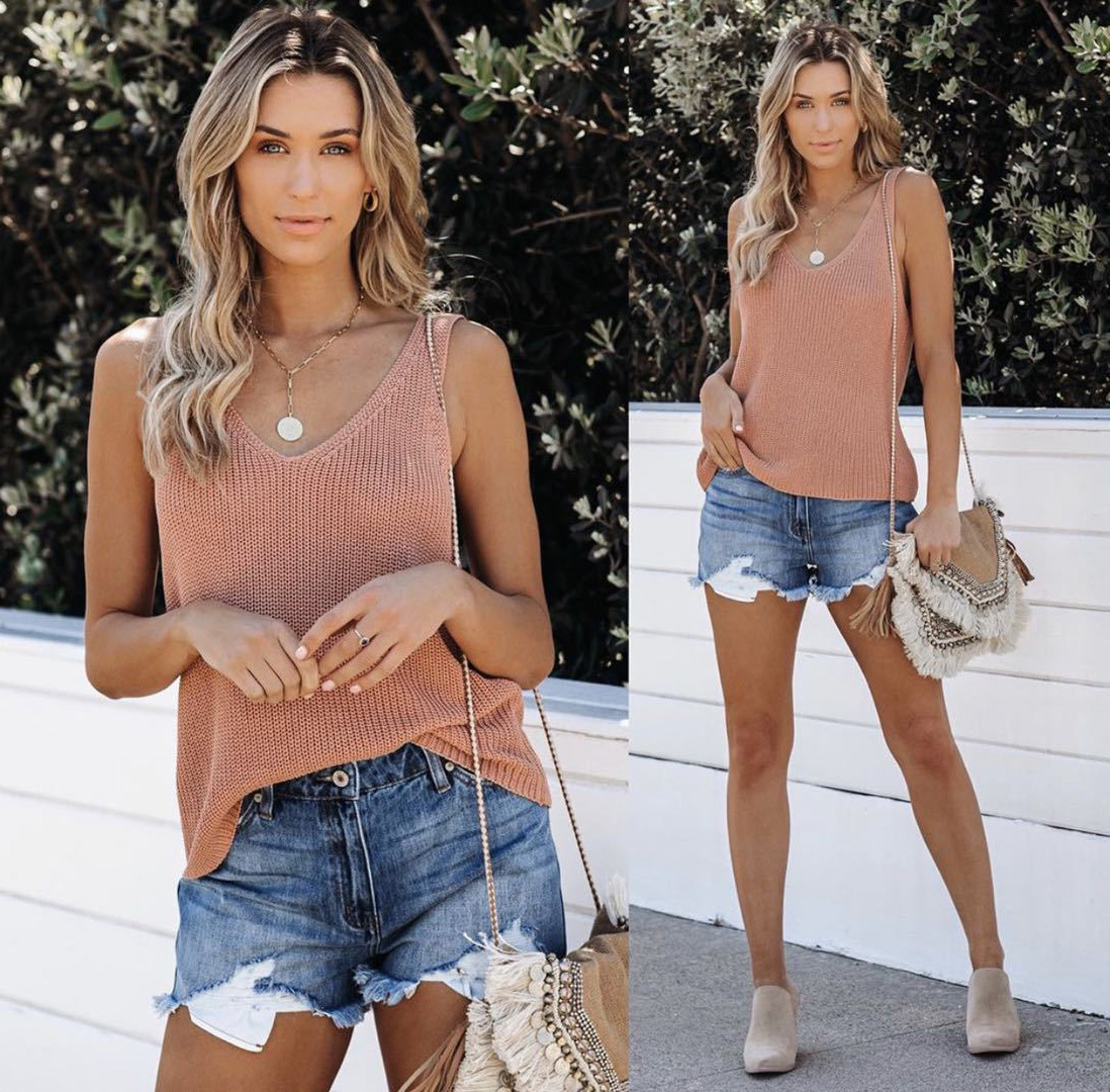 2021 Summer New Solid Color Fashion Camisole Ice Silk Knitted Women Fashion Sleeveless Cotton V-Neck Loose Splice T-Shirt Female