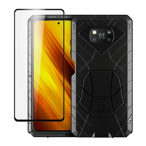 For Xiaomi POCO X3 Case with Tempered Glass Heavy Duty Protection Armor Shockproof Hard Aluminum Metal Pocox3 NFC Phone Cases