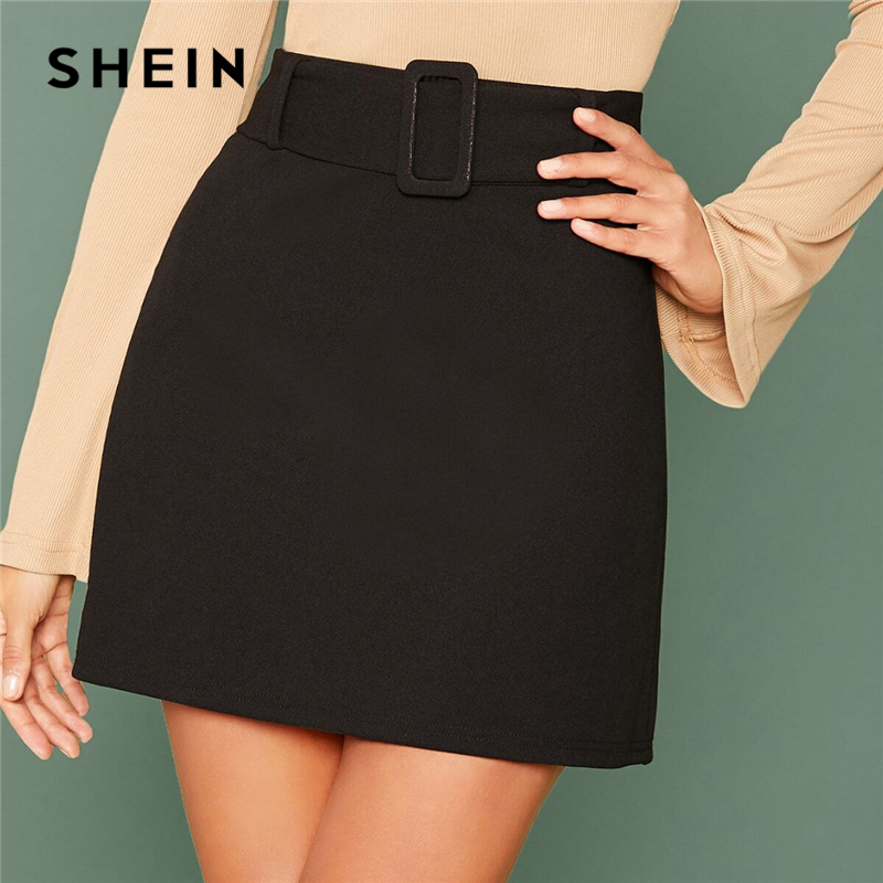 SHEIN Black Buckle Belted Solid Skirts Womens Autumn Solid Stretchy High Waist Elegant A Line Mini Skirt 1