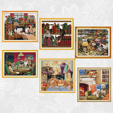 Warm Home Count Print Cross Stitch kits, Lazy cat Embroidery Needlework Set, Dog play games Cross-stitch Accessory Tools