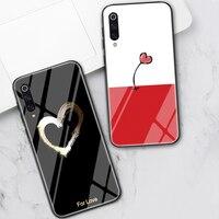 Amor corazón funda de Sonrisas para Xiaomi Redmi Nota 8 9 7 6 Pro 8T K20 K30 Mi nota 10 9 T 8 Pro SE A3 A2 Lite 6X F1 posterior de cristal templado