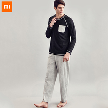 New Xiaomi instant me 100% Cotton Men pajamas long-sleeved couple home service suits can be worn outside solid Homewear