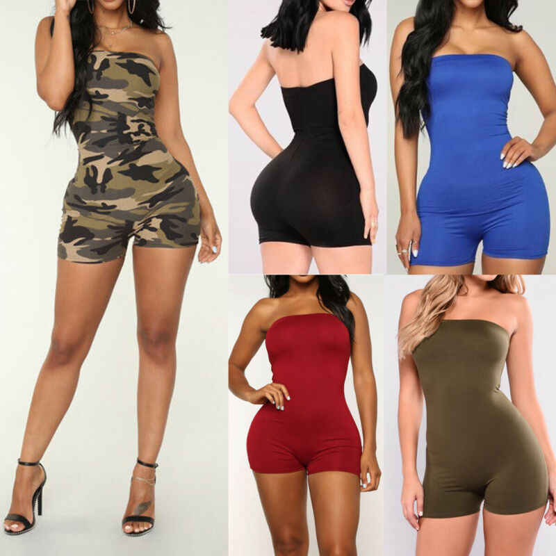 2020 חדש Romper Playsuit נשים חמה Clubwear קיץ מוצק צבע Playsuit גבירותיי מקרית Bodycon המפלגה מכנסיים Playsuits סטרפלס