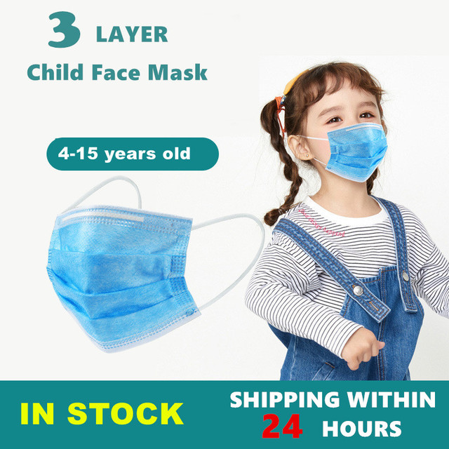 50Pcs 3 layer Disposable Elastic Mouth Soft Breathable Blue Soft Breathable Flu Hygiene Child Kids Face Mask Dropshipping