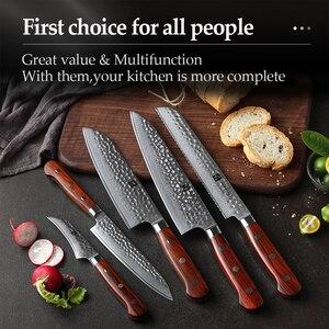 Image 5 - XINZUO סכיני מטבח סט דמשק ורידי נירוסטה קילוף שירות Santoku חיתוך שף בישול סכין Rosewood ידית
