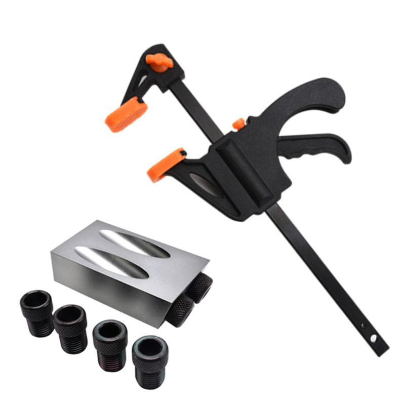 8pcs/set Woodworking Pocket Hole Jig Kit 6/8/10mm 15 Degree Angle Adapter Drill Guide Woodworking Adapter DIY Carpentry Tools