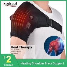 AGDOAD cinturón eléctrico de soporte para espalda y hombros, cinturón ajustable para terapia de calor para hombro dislocado, rehabilitación, lesiones, envoltura para el dolor