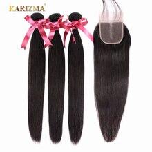 Karizma ストレートヘア 3 バンドルと閉鎖中部ブラジル髪織りバンドルとともに 1 閉鎖人毛エクステンション非レミー