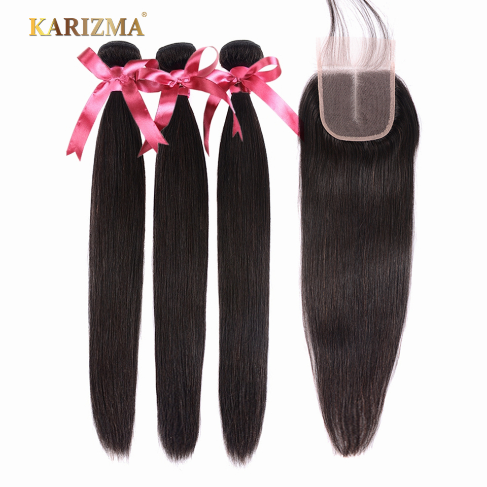 Karizma Straight Hair 3 Bundles With Closure Middle Part Brazilian Hair Weave Bundles With Closure Human Hair Extension Non Remy
