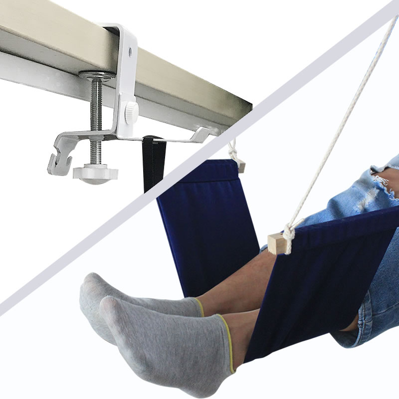 Canvas Pedal Hammock With Adjustable Mini Footrest On The Table For Family And Office