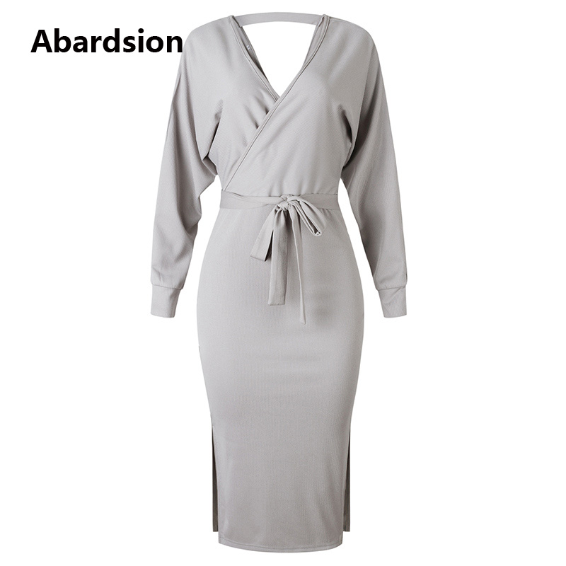 Abardsion Women Knitted Sweater Dress Wrap Belted Tunic Midi Vestidos Long Sleeve Double V Neck Split Casual Autumn Dresses 19 13