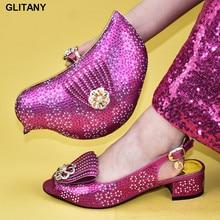 Последняя Для женщин Роскошные Стразы Свадебная обувь Для женщин сумки в итальянском и Африканском вечерние туфли-лодочки комплект из туфель и сумочки в Обувь в африканском стиле и сумки в комплекте, Размер 38–43