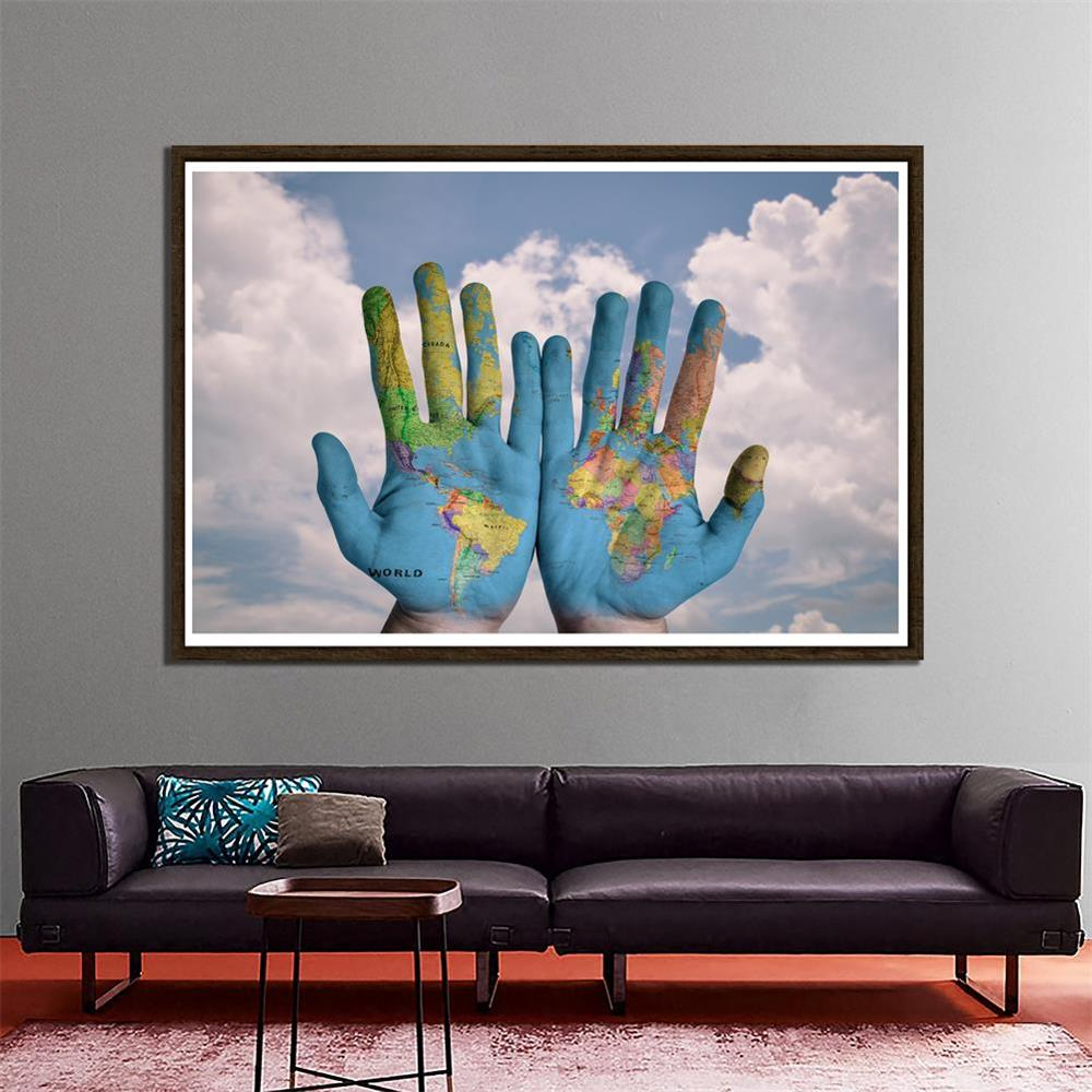 150x100cm Creative World Map Theme Home Office Wall Decor Painting Photo Studio Background Props