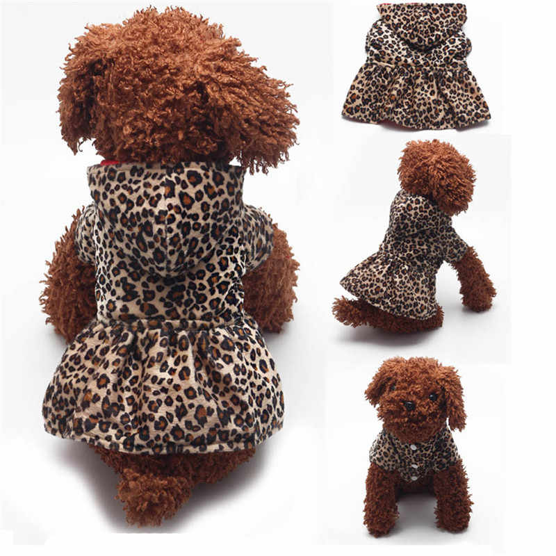 Double Side Wearing Pet Dogs Leopard Dress Tops Puppy Cotton Hoodie Clothes Dots Design Puppy Jacket Coat Drop Shipping #B20