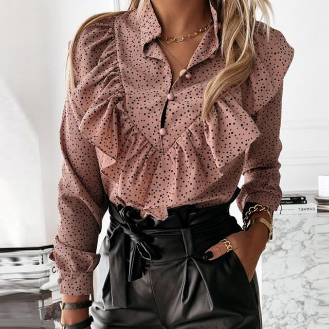 Elegant Polka Dot Ruffle blouse shirts Women Autumn Long Sleeve V-Neck Pullover Tops Office Lady Casual Button Plus Size blusa 3