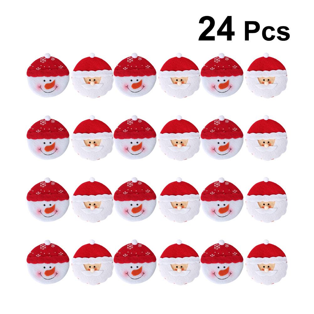 24PCS Nonoven Christmas Decor Cloth Santa Snowman Ornament Cute Cartoon Pendant Xmas Party Home Door Wall Decoration