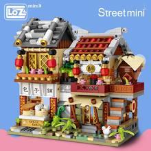 LOZ Mini blok Mini chiny ulica chińska tradycja Model specjalny DIY zabawki konstrukcyjne dla dzieci edukacyjne Anime