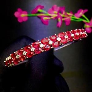 Image 5 - Natural ruby bracelet, hot quality, beautiful color, 925 sterling silver, adjustable size