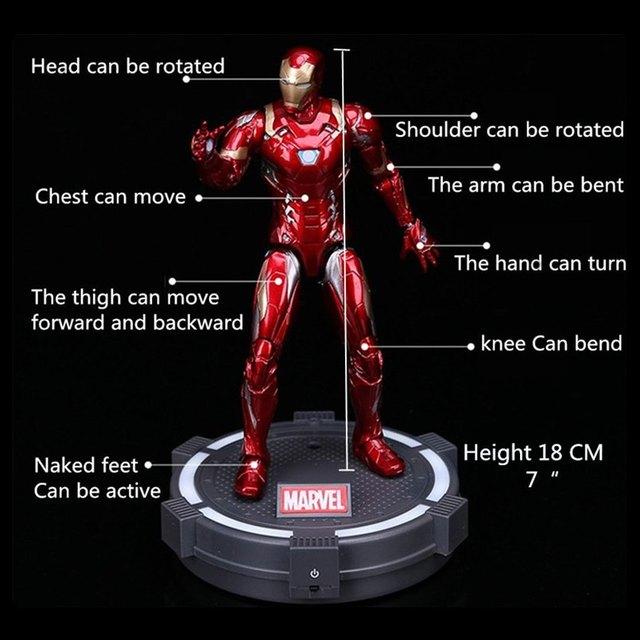 marvel Action Figure Movie Anime model Toys Avengers Infinity War Led Base Spiderman/Captain America/Iron man/thor