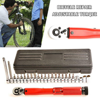 High 20/25pcs Bicycle Repair Adjustable Torque Wrench Reversible Click Type Torque Wrench LG66